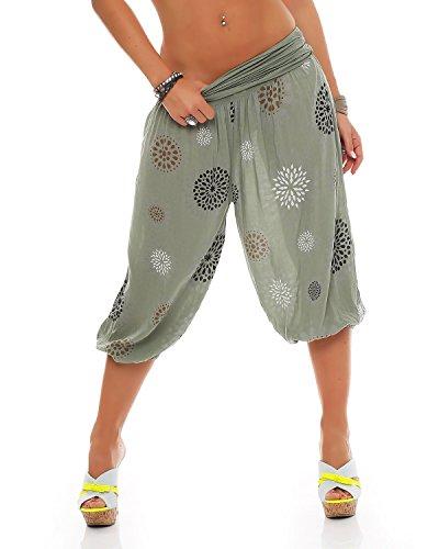 Zarmexx Damen 3/4 Pumphose Capri Pluderhose im Harem-Stil Kurze Sommerhose Yoga Aladinhose Knielang (Einheitsgröße 36/38/40, Armee)