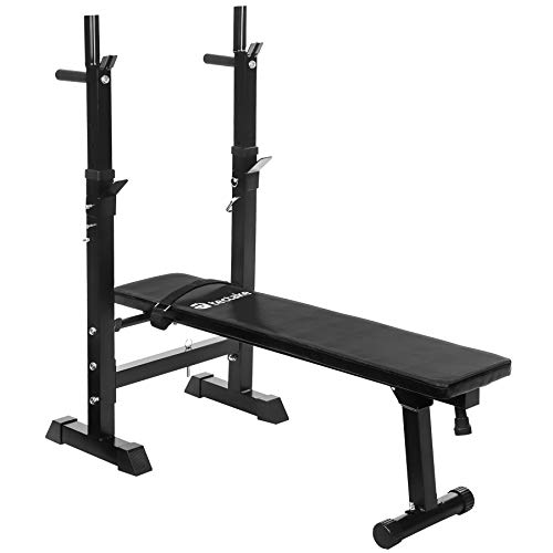TecTake Banc de Musculation avec Support de Bar Pliable réglable Ajustable d'appartement
