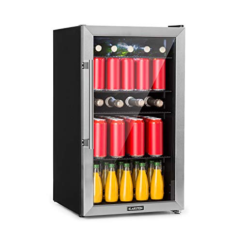 KLARSTEIN Beersafe 3XL - Frigorifero per Bevande, 98 L, Classe A+, 4 Ripiani, 7 Livelli di Temperatura: 0-10 ° C, Porta in Vetro, Libera Installazione, Frontale in Acciaio Inox