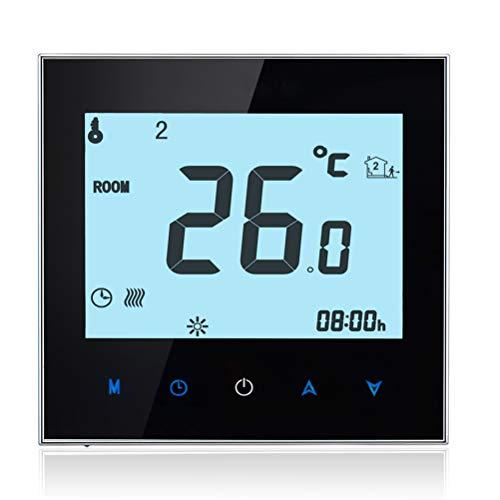 Qiumi Smart WiFi Caldera Termostato de calefacción Temperatura programable Controlador táctil Termorregulador 5A 95-240V, integrado con Amazon Echo, Google Home