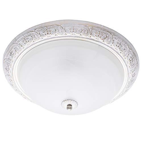 MW-Light 450013703 Runde Deckenlampe 3 Flammig Klassisch Weiß Shabby Chic