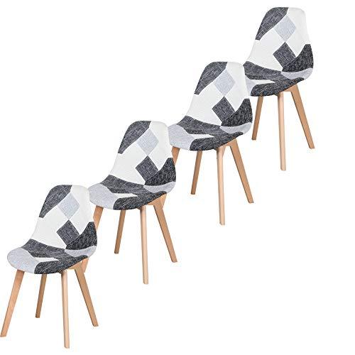 GrandCA HOME Nordica Silla de Comedor Pack 4 Sillas Comedor Madera Moderna para Oficina Cocina-Gris (Gris)