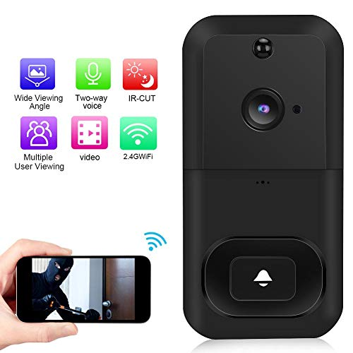 Draadloze videodeurbel, 1080P WiFi waterdichte draadloze intercom deurbel camera met APP-bediening + PIR-detectie + nachtzicht + ondersteuning voor cloudopslag (zwart)