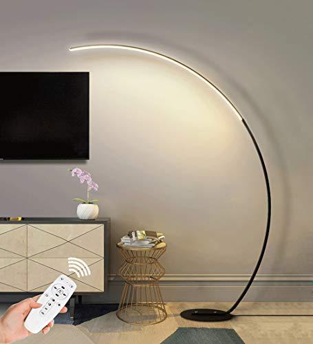Lámpara de pie curvada LED Moderna, 25W Minimalista Lámpara de Arco Regulable con Mando a Distancia Lampara pie Aluminio 3 Niveles de Brillo Regulable para Salón Dormitorio y Estudio (Color: Negro)