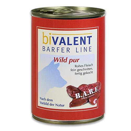 biVALENT BarferLine Wild pur Hundefutter nass – 100% Wild rohes Fleisch I fein geschnitten I Nassfutter Hundenassfutter für Hunde (12x400g)