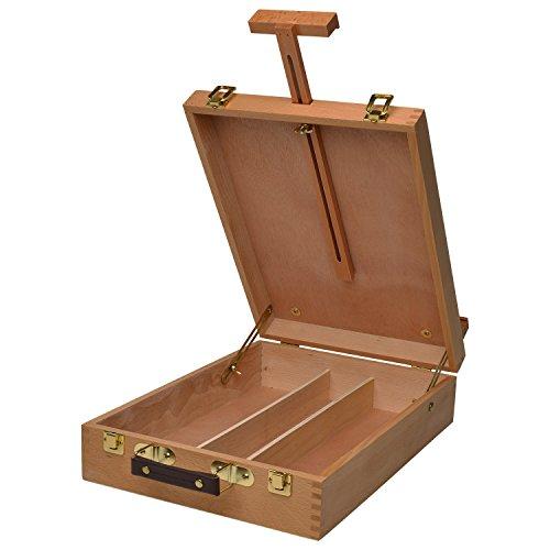 Artina caballete de mesa Nancy - caballete maletín de pintura profesional caballete de madera de haya con 3 compartimentos