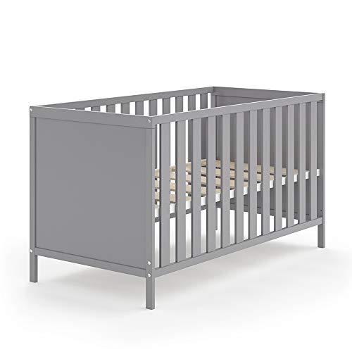 VITALISPA Babybett JONAS 70x140cm Gitterbett Umbaubett Kinderbett umbaubar (Grau)