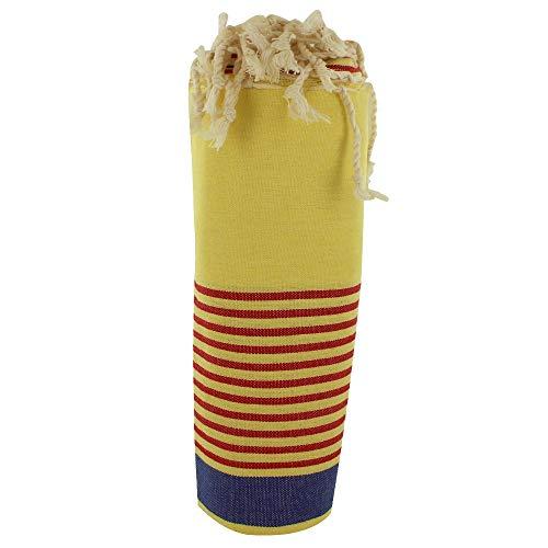 LES POULETTES Asciugamano FUTA o Hammmam Cotone Spiaggia Giallo Chiaro Banda Blu e Piccolo Righe Rosso 100 x 200cm