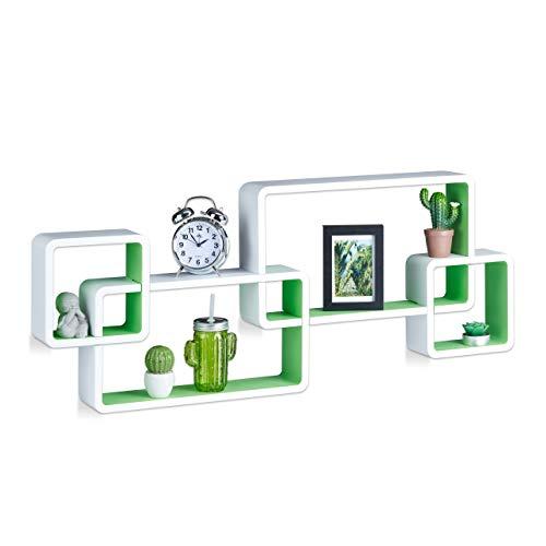 Relaxdays Wandregal Cube, Schwebend, Modernes Design, Dekorativ, Steckbar, 4 Würfel, MDF, HxBxT: 42x104x10cm, Weiß-Grün