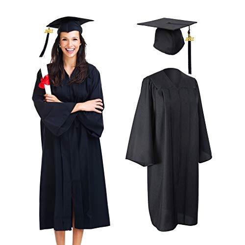 Amycute Robe de Cérémonie Universitaire, Graduation Uniforme, Chapeau et Toge Diplômé avec Pendentif 2021 (Noir)