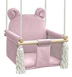 NATILU Babyschaukel Kinderschaukel Teddybär (Teddybär Rosa)
