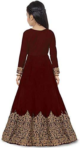 Preezy kid's embroidered Taffeta Satin anarkali gown