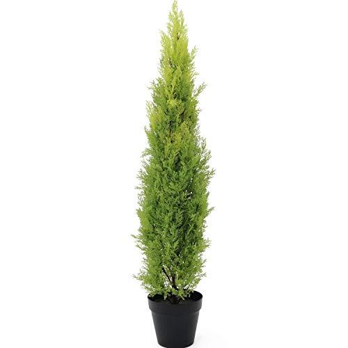 artplants.de Ciprés Artificial en Tiesto Decorativo, 120cm - Resistente a la Intemperie - Planta Artificial - árbol sintético