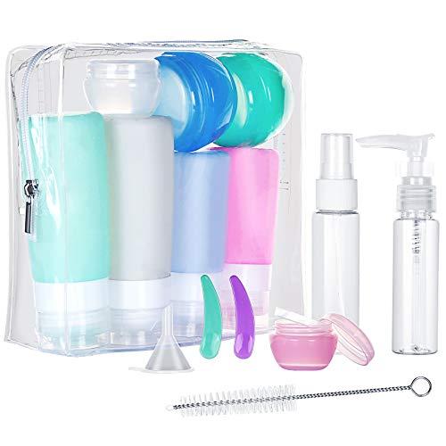 Gospire 16 Stück Silikon Reiseflaschen Set für Handgepäck Kosmetika für Flugzeug, mit Kulturbeutel Auslaufsicher Reisebehälter für Hautpflege, Lotion, Shampoo, Spülung, Duschgel, Körperpflege