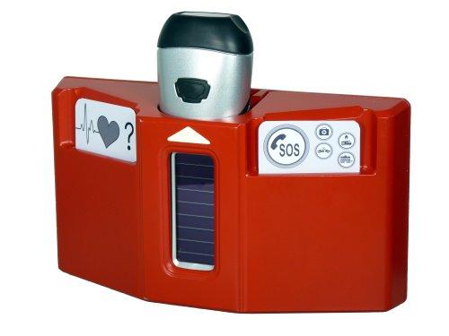 PowerPlus Husky Dynamo SolarTaschenlampe Notfall Station Rot / Grau