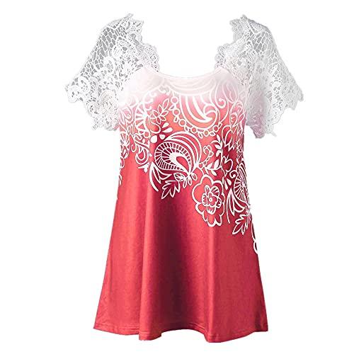 Blusa Mujer Sexy Retro Blusa De Manga Corta Moda De Verano Casual Elegante Costuras De Encaje Slim Fit Camisa Mujer De Todo Fósforo Sexy Sin Respaldo Diario Casual E-Red M