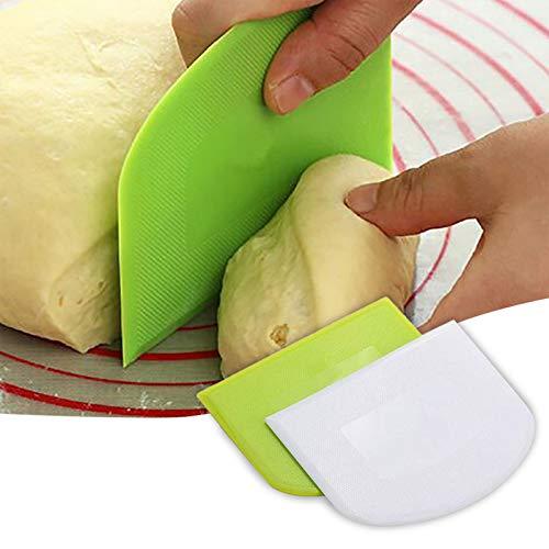 Shimigy 2PC Dough Scraper, Bowl Scraper, Safe Plastic Cake Cutter/Cream Spatula/Butter Batter Scraper/Baking Tools, Practical & Multipurpose Food Scrappers for Kitchen