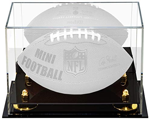Better Display Cases Acrylic Mini - Miniature (not Full Size) Football Display Case with Gold Risers and Mirror (A005-GR)