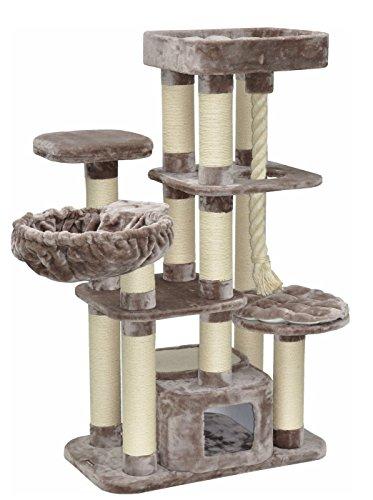 nanook Kratzbaum Memphis XXL - hochwertiger 600 gr. Plüsch - schwere große Katzen - 158 x 85 x 49 cm - grau braun - 51 kg