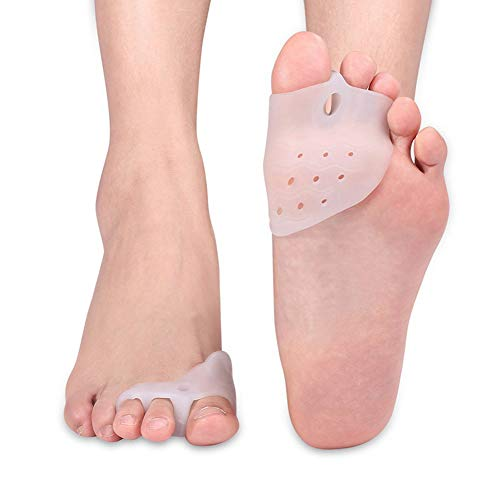 Toe Separator, Bunion Corrector Gel Toe Straightener Silicone Toe Spacer Hallux Valgus Pain Relief with Forefoot Pads Cushion Protector for Yoga Ballet Dancers and Athletes (Forefoot)