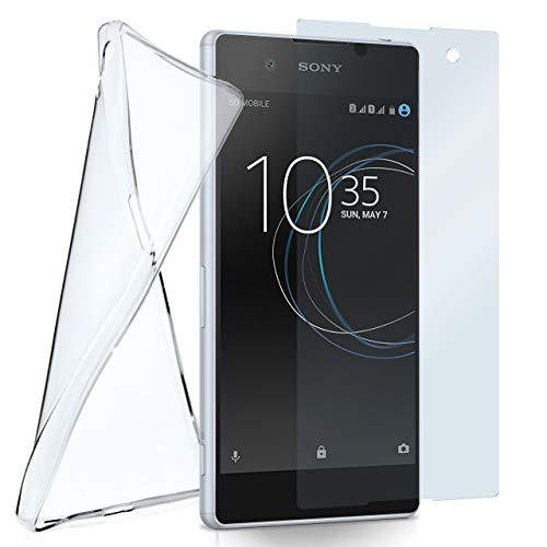MoEx Silikon-Hülle für Sony Xperia XA1 | und Panzerglas Set [360 Grad] Glas Schutz-Folie mit Back-Cover Transparent Handy-Hülle Sony Xperia XA1 Hülle Slim Schutzhülle Panzerfolie