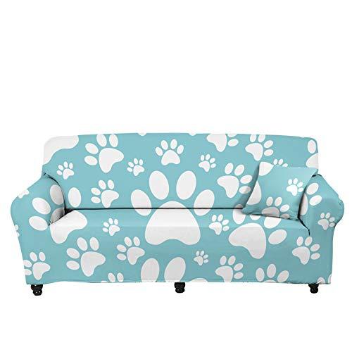 Pizding Funda de sofá elástica para todas las estaciones, con correa elástica, espuma antideslizante, estampado de huellas de perro, para mujer, decoración de salón, color turquesa