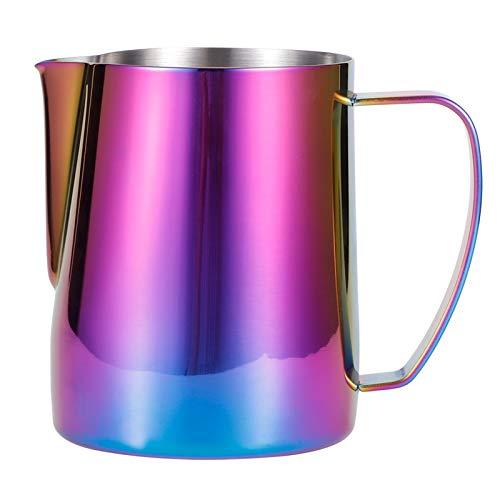 eecoo Brocca per schiumare Il Latte, Tazza da caffè in Acciaio Inossidabile 304 per Uso Alimentare, Tazza con Ghirlanda Viola Colorata, misurino per Crema Latte Cappuccino, Latte Art(350ml)