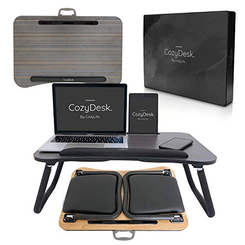 CozyDesk Premium Lap Desk - Perfectly Portable Multifunctional Bed Tray with Foldable Legs - Cushioned Bed Desk Stand with Handle, Wrist Support and Tablet/Phone Holder - Eco Friendly Wood
