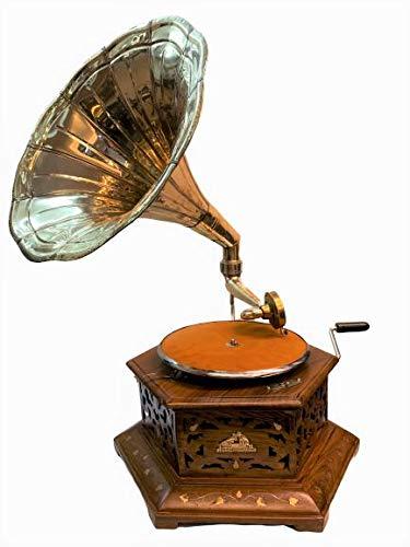 Antique Museum His Master Voice 80's Musical Box Six Corner Cabinet Wooden Art Desk Décor The Gramophone Co. Brass Horn Vintage Turntable Antique Machine Phonograph A3BG 023