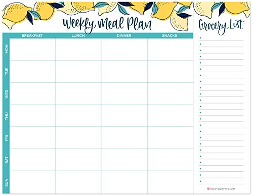 """bloom daily planners Horizontal Weekly Magnetic Meal Planning Pad for Fridge with Tear-Off Grocery Shopping List - Hanging Food/Menu Organizer Notepad with Magnets - 8.5"""" x 11"""" - Lemons"""