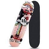 Patinetas completas de 31' 7 capas de arce Monopatín de doble eje de balancín de cuatro ruedas Tabla de skate profesional o principiantes Adultos Adolescentes Jóvenes Niños, con ruedas de flash Pu