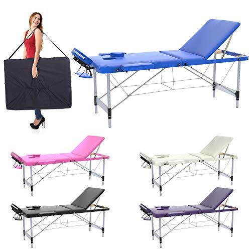 Mobile Massagetisch Massageliege Massagebank 3 zonen 195 X 70 cm - XL klappbar Aluminium + Tragetasche für mobile Massageliege Kosmetik Bank Tisch klappbar (Blau)