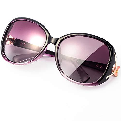 RayLove Gafas de sol polarizadas retro clásicas para mujer, lentes UV400 para mujer, Morado (Púrpura), Talla única