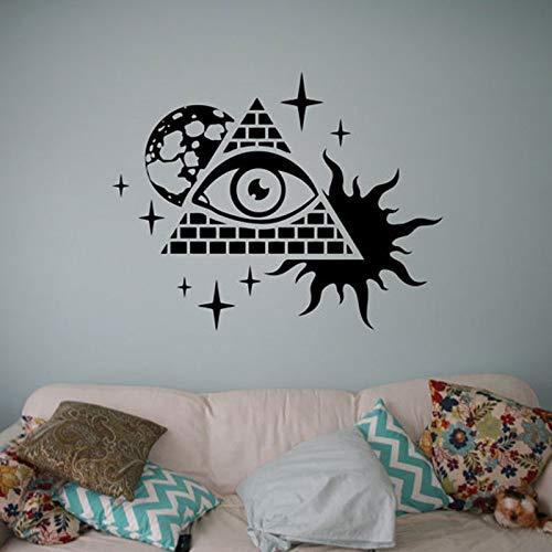Modeganqingg Skyline-Abziehbilder mit kreativen Symbolen, alle sehenden Augen Vinylaufkleber, die Wohnzimmerwandbilder 73 L 73x57cm verzieren