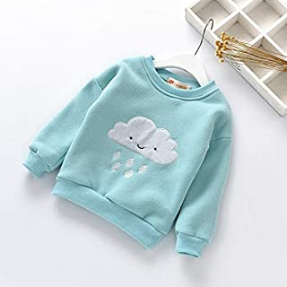 Clothing Winter Children Anthropomorphic Cloud Pattern Plus Velvet Thick Warm Shirt, Height:120cm(Pink) Clothing (Color : Light Blue)
