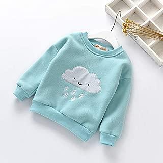 ملابس الاطفال Winter Children Anthropomorphic Cloud Pattern Plus Velvet Thick Warm Shirt, Height:120cm(Pink) ملابس الأولاد (Color : Light Blue)