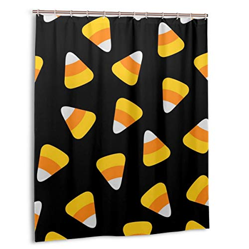 LiBei Duschvorhang,Candy Corn.Happy Halloween Seamless Pattern.Geschenkpapier,Stoff Badezimmer Dekor Set mit Haken 180cmx180cm