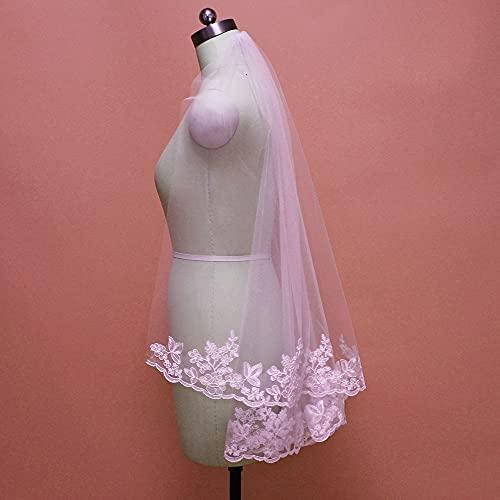 Tocado de novia Fotos reales de encaje corto velo de novia para...