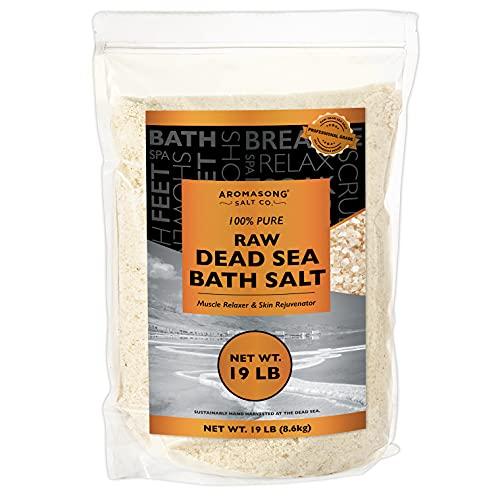 19 lbs Raw Dead SEA Salt Not Cleaned, Still Contains All Dead sea Minerals Including Dead sea Mud, Fine Medium Grain Large resealable Bulk Pack,