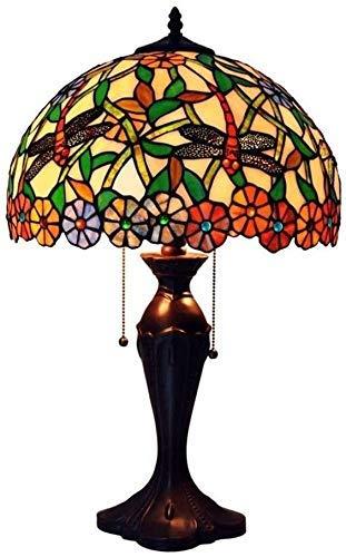 AWCVB Lámpara Tiffany 16 Pulgadas 2 Luces Tiffany Style Lámpara De Mesa Libélula Y Diseño De Flores Giratorio Diseño De La Sala De Estar De La Sala De Estar Decoración De Iluminación