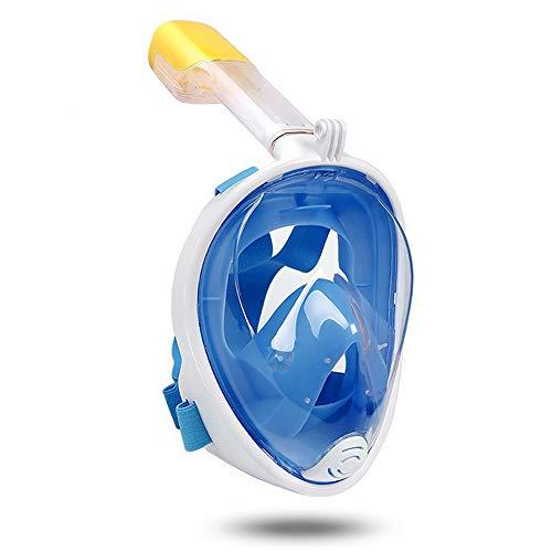 HUOFEIKE Máscara de Silicona para esnórquel para niños, Gafas de Buceo Adecuada para el Turismo isleño Formación de natación Antifugas y antivaho Ajustable con Soporte para cámara,Blue,S/M
