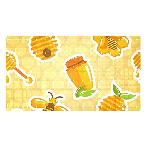 KAMEARI Alfombrilla de baño antideslizante para bañera con ventosas y agujeros de drenaje, tarro de miel, colmena, abeja, panal dulce