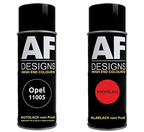 Alex Flittner Designs Autolack Spraydose Set für Opel 11005 SCHWARZ MATT Basislack Klarlack Sprühdose 400ml