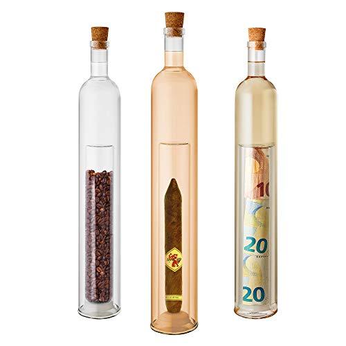 Casa Vivente Geschenkflasche mit befüllbarem Hohlraum, Flasche als Geschenkverpackung für Männer, Aus Glas, Füllmenge: 400 ml
