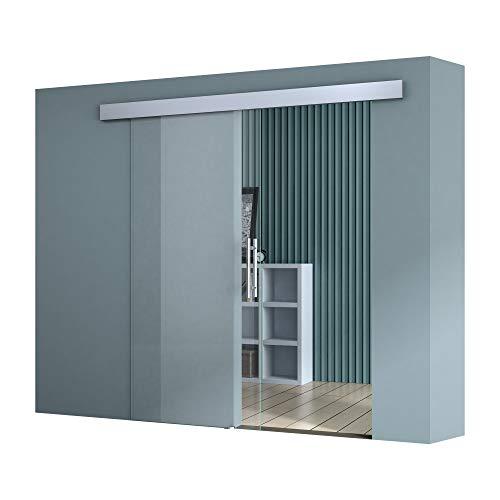 Sogood 90x205 cm Design Glasschiebetür Amalfi TS20-900 Klarglas ESG Sicherheitsglas Schiebetür Glastür Zimmertür Bürotür
