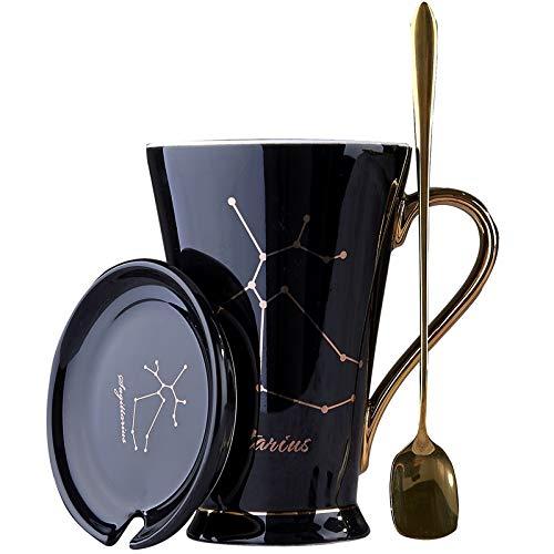 HYKJ Persönlichkeit zwölf Konstellation Wasser Tasse Mode Skizze Gold Aufkleber Knochen Porzellan Kaffeebecher mit Abdeckung Löffel Keramik Paar Tasse