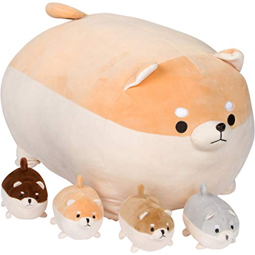 Snugababies Shiba Inu Stuffed Animal Mommy with 4 Baby Puppies in Tummy - Plush Toy Anime Corgi & Akita Kawaii Dog Soft Pillow; Plush Toy Gifts for Boys Girls