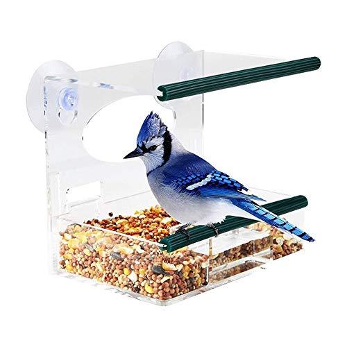 Comedero para pájaros con ventana de 1 pieza con 2 ventosas súper fuertes, casa para pájaros de acrílico transparente, comederos para pájaros al aire libre, decoración para patio de observación de ave