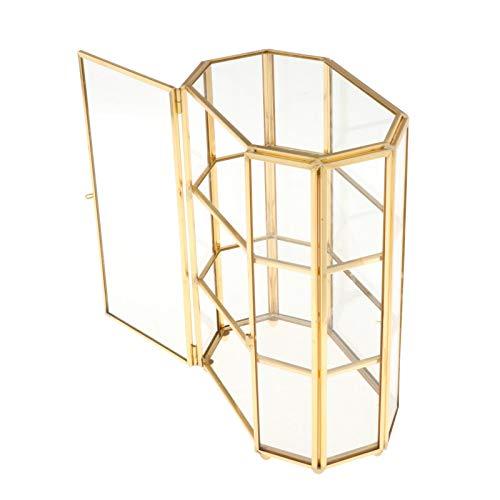H HILABEE Caja de Almacenamiento Vintage Caja de Exhibición de Pendientes de Joyero de Cristal Geométrico Caja de Presentación