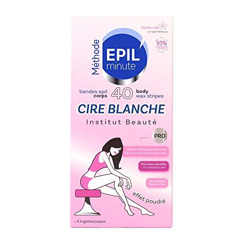 EPIL'minute - 40 BANDES CORPS CIRE BLANCHE - Épilation douceur, application confort - 93% d'ingrédients naturels